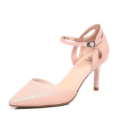 Tata/他她2017年春季粉色牛皮女皮凉鞋FD201AK7