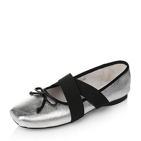 Tata/他她2017年春季银色荔纹牛皮女休闲鞋2JX19AQ7