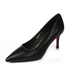 Tata/他她2017年春季黑色牛皮时尚简约尖头高跟女皮鞋2J201AQ7
