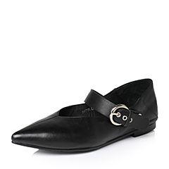Tata/他她2017年春季黑色羊皮时尚小v口皮带扣一字带女皮鞋2HC25AQ7
