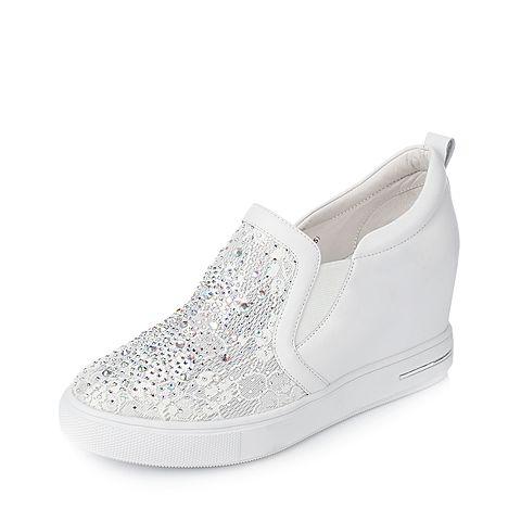 Tata/他她2017年春季白色牛皮蕾丝网布女休闲鞋2NZ71AM7