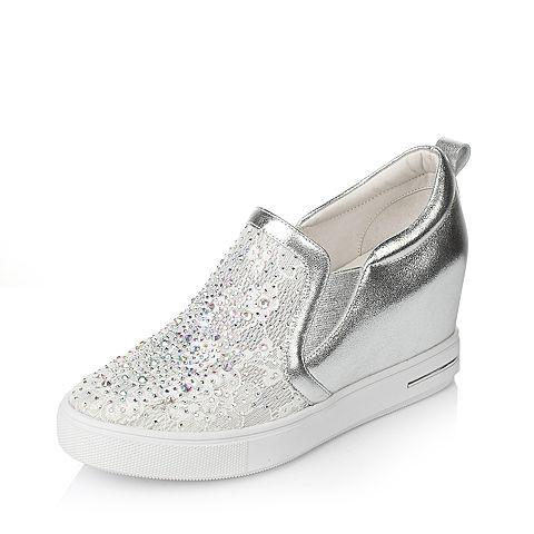 Tata/他她2017年春季银色牛皮蕾丝网布女休闲鞋2NZ71AM7