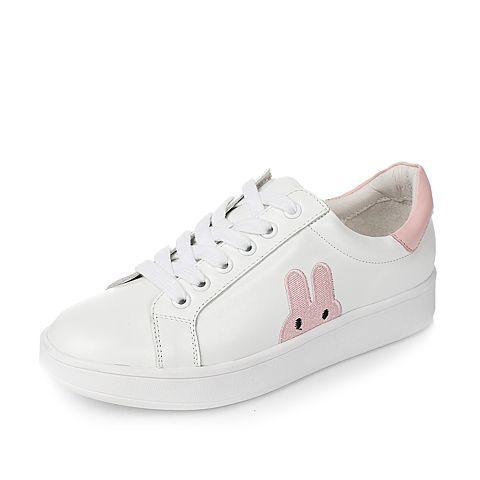 Tata/他她2017年春季粉色牛皮女休闲鞋2X136AM7