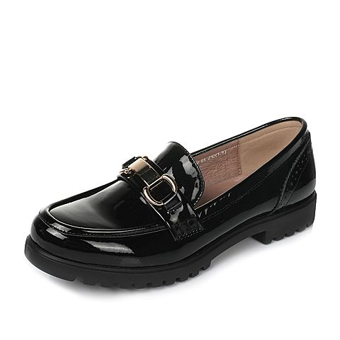 Tata/他她2017年春季黑色牛皮女皮鞋DN717AM7
