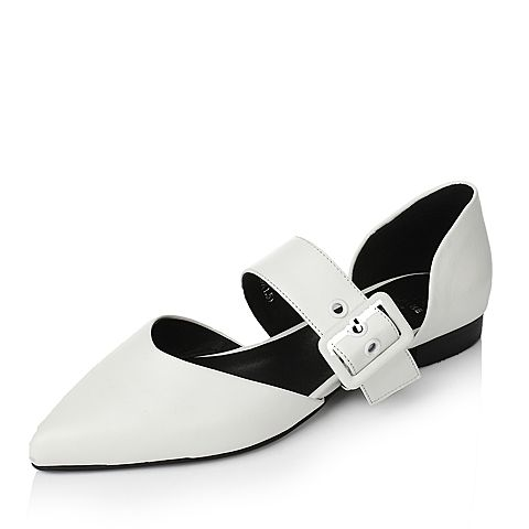 Tata/他她2017年春季白色羊皮女皮鞋2R135AK7