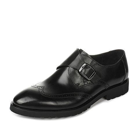 Tata/他她春季黑色牛皮男皮鞋2A569AM7