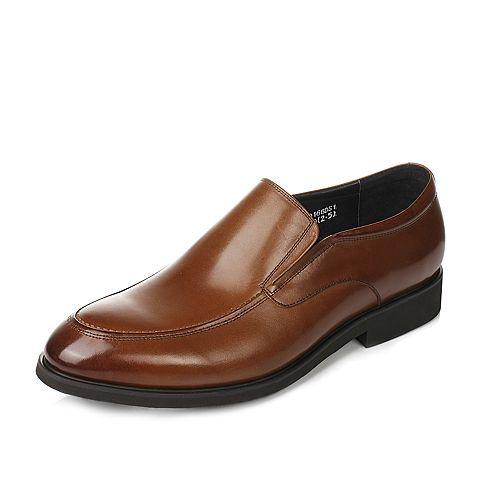 Tata/他她2017年春季棕色牛皮男皮鞋2Q166AM7