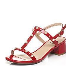 Tata/他她夏季专柜同款大红色漆牛皮甜美珍珠粗跟女皮凉鞋2USB1BL7