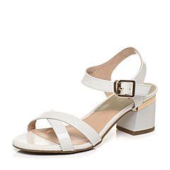 Tata/他她夏季专柜同款白色光牛皮简约通勤粗跟女皮凉鞋2R314BL7