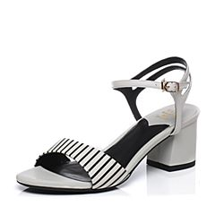 Tata/他她2017年夏季专柜同款黑白/白印花牛皮经典条纹女皮凉鞋2R315BL7