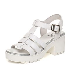 Tata/他她2017夏季专柜同款白色牛皮简约罗马风女皮凉鞋2A115BL7