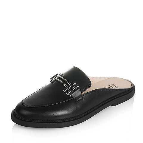 Tata/他她2017年夏季黑色牛皮时尚休闲女穆勒鞋SD180BT7
