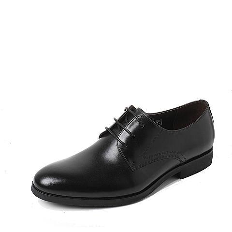 Tata/他她2017年秋季黑色牛皮商务绅士方跟男皮鞋2C833CM7