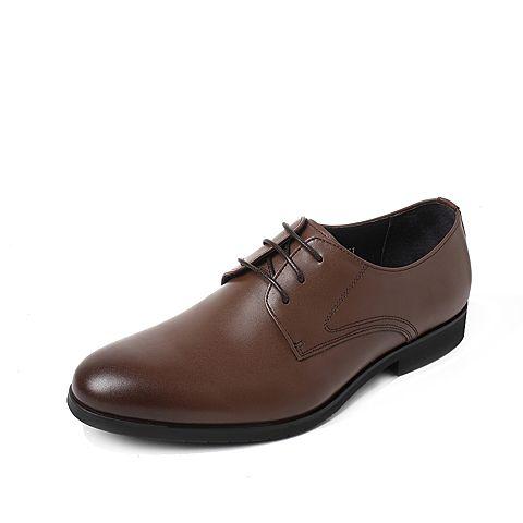 Tata/他她2017年秋季棕色牛皮商务绅士方跟男皮鞋2C833CM7