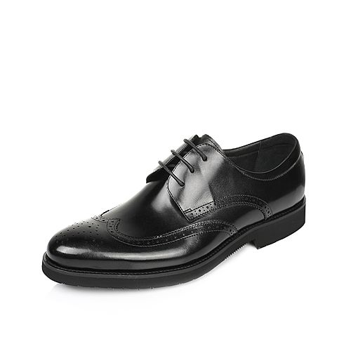 Tata/他她2017夏季专柜同款黑色时尚雕花布洛克方跟牛皮男单鞋3A151BM7