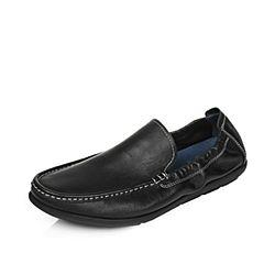 Tata/他她夏季专柜同款黑色时尚乐福舒适平跟牛皮男休闲鞋2W313BM7