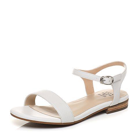Tata/他她2017年夏季白色牛皮时尚一字带女皮凉鞋2QV19BL7