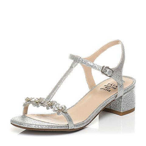 Tata/他她2017年夏季银/白银亮片布甜美水钻花朵粗跟女凉鞋2USB3BL7