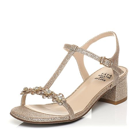 Tata/他她2017年夏季金色亮片布甜美水钻花朵粗跟女凉鞋2USB3BL7