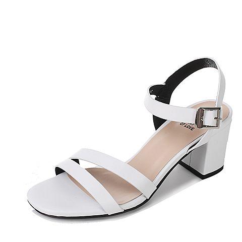 Tata/他她2017年夏季白色牛皮通勤简约粗跟女皮凉鞋FK505BL7