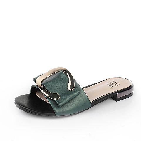 Tata/他她2017年夏季绿色羊皮女皮凉拖鞋2BY55BT7