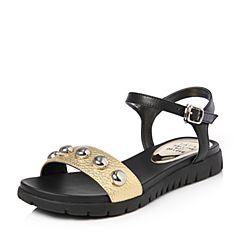 Tata/他她夏专柜同款金/黑牛皮撞色一字带坡跟休闲女凉鞋FA802BL7