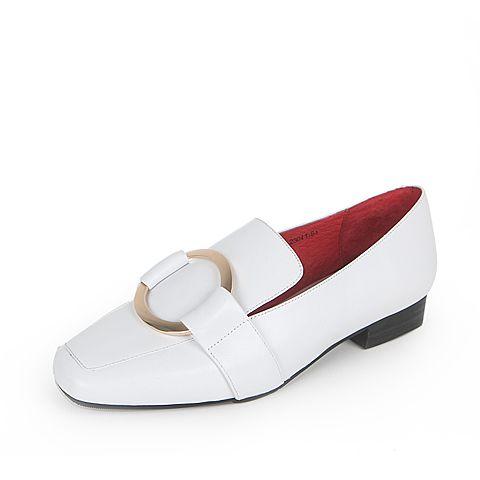 Tata/他她2017年春季白色牛皮女皮鞋7A613AM7