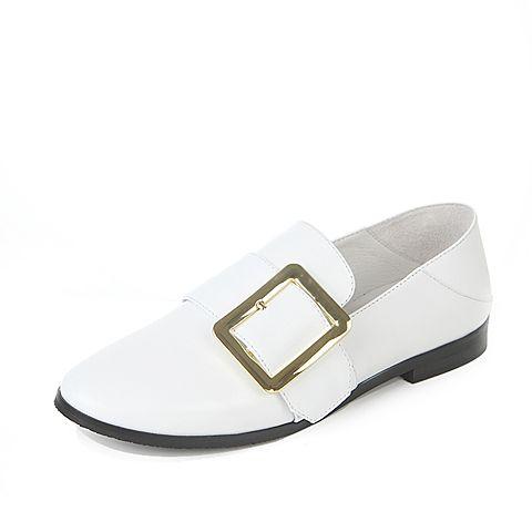 Tata/他她2017年春季方扣白色牛皮女皮鞋DF168AM7