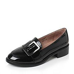 Tata/他她2017秋黑色PU几何大扣撞色方跟套脚浅口女鞋2HC83CQ7