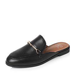 Tata/他她夏季黑色牛皮时尚简约穆勒鞋后空女凉鞋2B219BH7(领红包更优惠)