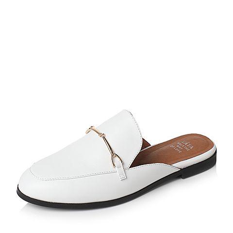 Tata/他她2017年夏季白色牛皮时尚简约穆勒鞋后空女凉鞋2B219BH7