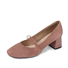 Tata/他她夏季粉色羊皮精致珍珠一字带复古玛丽珍女鞋ZB963BQ7