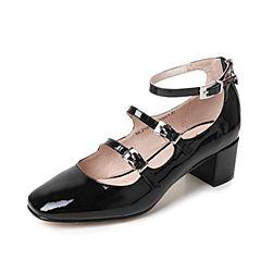 Tata/他她夏季黑色漆牛皮复古一字扣带女玛丽珍鞋MLZ10BQ7
