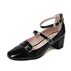 Tata/他她夏季黑色漆牛皮时尚皮带扣一字扣带女玛丽珍鞋MLZ21BQ7