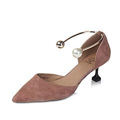Tata/他她2017年夏季粉色羊皮时尚珍珠金属脚环女皮凉鞋6ZBA7BK7