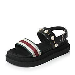 Tata/他她夏季黑色牛皮编织布珍珠铆钉休闲厚底女凉鞋FHY01BL7
