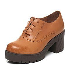 Tata/他她2017秋专柜同款棕色通勤简约系带粗高跟女鞋FE620CM7