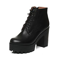 Tata/他她2017秋黑色牛皮雕花绑带通勤粗高跟女短靴2C146CD7
