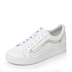 Tata/他她秋白/金牛皮系带拼色平底小白鞋女休闲鞋17116CM7