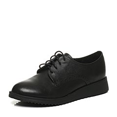 Tata/他她2017秋专柜同款黑色牛皮系带运动风女休闲鞋2N927CM7