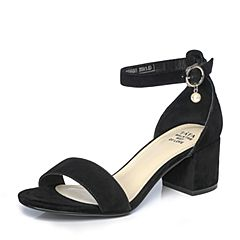 Tata/他她夏季黑色羊皮甜美珍珠一字带粗跟女凉鞋81066BL7