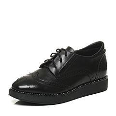 Tata/他她2017秋专柜同款黑色牛皮英伦雕花坡跟女皮鞋FAD20CM7