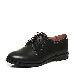 Tata/他她2017秋专柜同款黑色牛皮系带方跟女休闲鞋2I2F4CM7