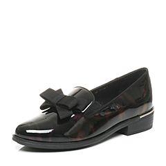 Tata/他她2017秋专柜同款紫黑漆牛皮英伦拼色女皮鞋FAM01CQ7