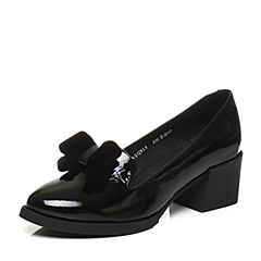 Tata/他她2017秋专柜同款黑色漆牛皮通勤粗高跟女鞋2Q911CQ7