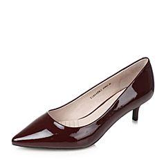 Tata/他她秋红色牛皮时尚尖头猫跟鞋细高跟浅口女鞋T2824CQ7