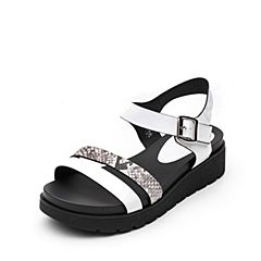 Tata/他她夏专柜同款白色时尚拼接一字带休闲坡跟女凉鞋T2317BL7