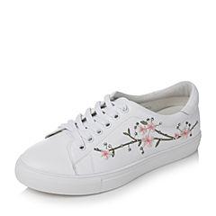 Tata/他她秋季白色牛皮绣花水钻系带平跟女休闲鞋FBX22CM7