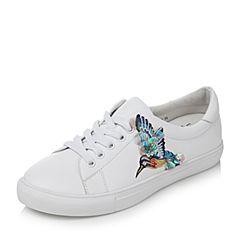 Tata/他她2017年秋季白色牛皮蜂鸟刺绣系带小白鞋女休闲鞋FBX26CM7