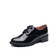Tata/他她2017秋专柜同款黑色牛皮丝带方跟女皮鞋2L023CM7